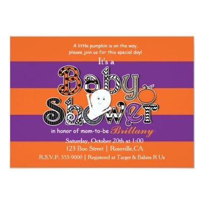 Halloween BABY SHOWER Orange Purple Invitation. Invitation