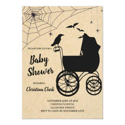 Halloween Baby Shower Spooky Gothic Invitation