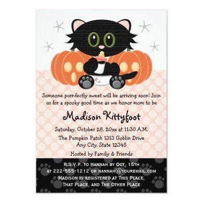 Halloween Black Cat Pink Diaper Pin Invitations