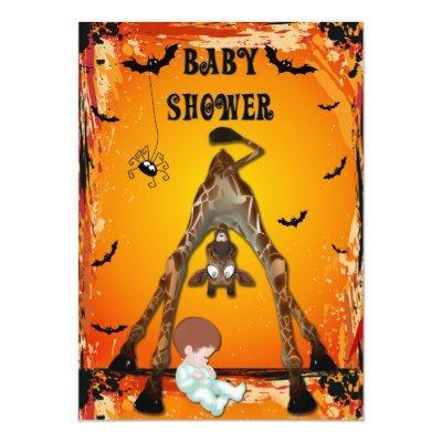 Halloween Boy Baby Shower Funny Giraffe Invitations