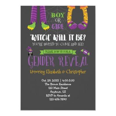 Halloween Gender Reveal Baby Shower Invitation