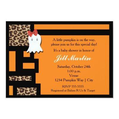 Halloween Ghost & Leopard Baby Shower Invitation