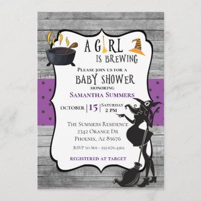 Halloween Girl is Brewing Witch Baby Shower Invitation