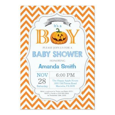 Halloween Pumpkin Baby Shower Invitation Boy
