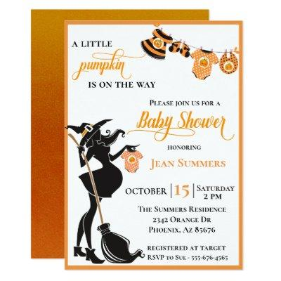 Halloween Pumpkin on the Way Witch Baby Shower Invitation