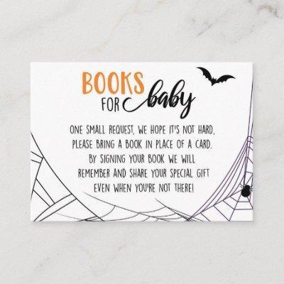Halloween Spiderwebs Baby Shower Book Request Enclosure Card