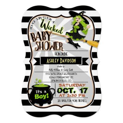 Halloween Theme Witch Baby Shower Invitations