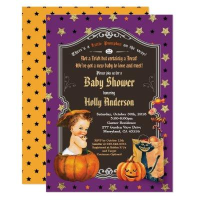 Halloween vintage baby shower retro chalkboard invitation