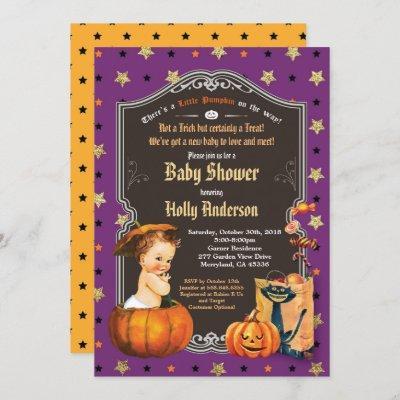 Halloween vintage baby shower retro chalkboard invitation
