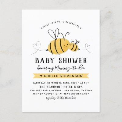 Handdrawn Bumblebees Mommy To Bee Baby Shower Invitation Postcard