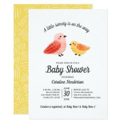 Handpainted Watercolor Bird Baby Shower Invitation