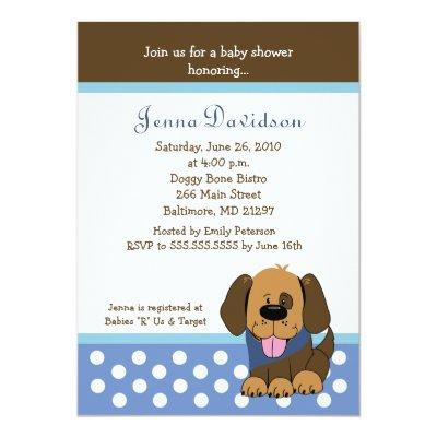 Handsome Puppy Dog Baby Boy Shower Invitations