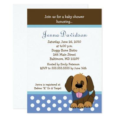 Handsome Puppy Dog Baby Boy Shower Invitations