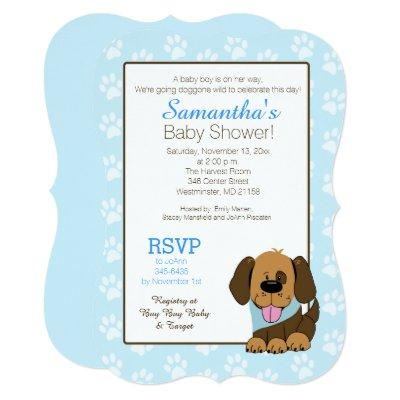 Handsome Puppy Dog Paw Print Baby Shower Invite