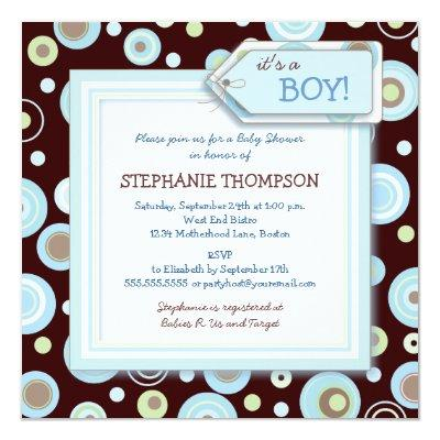 Happy Blue Dots Boy Invitations