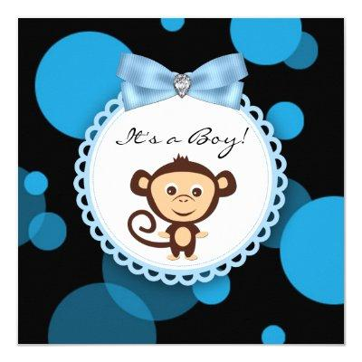 Happy Blue Monkey Baby Shower Invitations