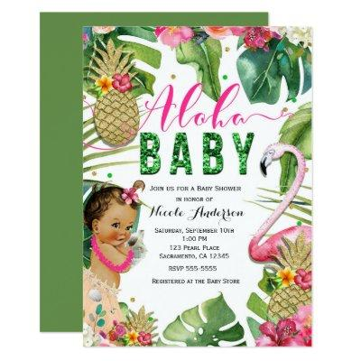 Hawaiian Aloha Tropical Baby Girl Vintage Shower Invitations
