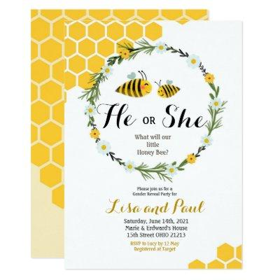He or She Bee Gender Reveal Invitation