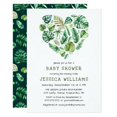 Heart of Tropical Watercolor Foliage Baby Shower Invitation
