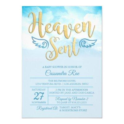 Heaven Sent Baby Shower Invitations Baby Shower Invitations Baby