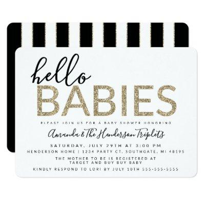 Triplets baby shower invitation baby shower invitations baby hello babies twins or triplets filmwisefo