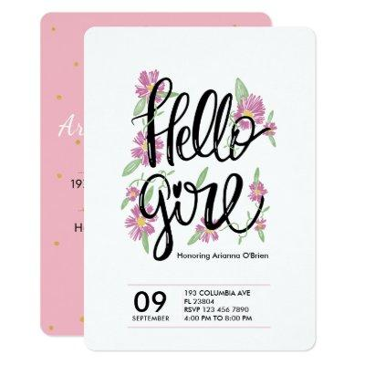 Hello girl cute floral typography