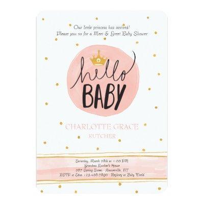 Meet Greet Baby Girl Invitations Baby Shower Invitations