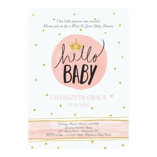 Hello Princess Meet And Greet Invitations Baby Shower Invitations