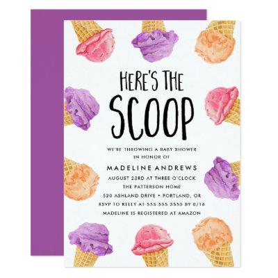 Here's The Scoop Ice Cream Baby Shower Invitation