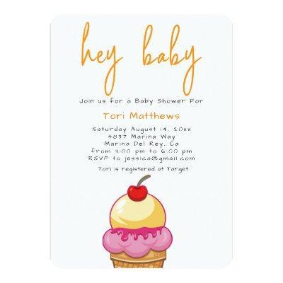 Hey Baby Orange Shower Invitation