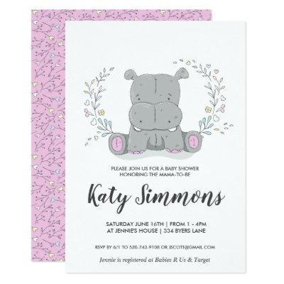 Hippo Love Baby Shower Invitation