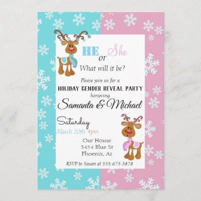 Holiday Gender Baby Reveal Party Reindeer Snow Invitation