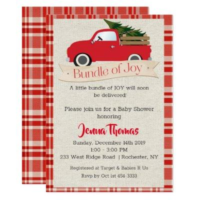 Holiday Red Truck Boy Baby Shower Invitations
