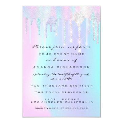 Holographic Drips Pink Unicorn Sweet 16th Mermaid Invitation