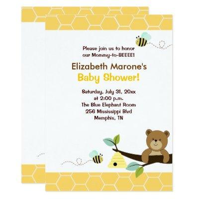 Honey Bear and Bee Baby Shower Invitations 4x6