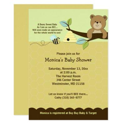 Honey Bear & Bumble Bee Baby Shower Invitations