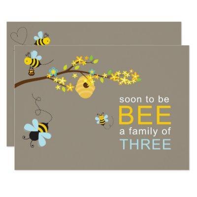 Honey Bees Boy Invitation Blue