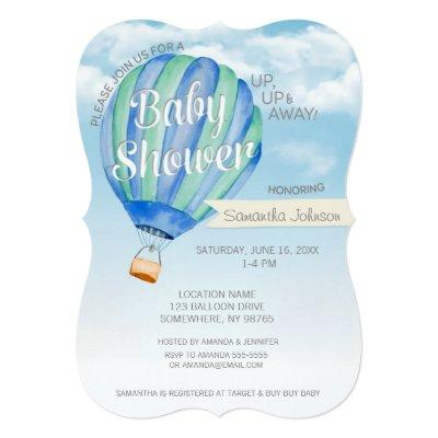 Hot Air Balloon Baby Shower - Blue & Green Boy Invitations