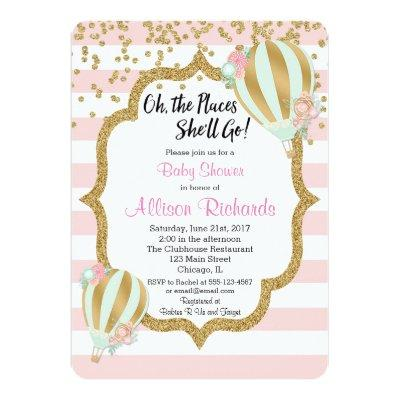 hot air balloon baby shower Invitations pink gold