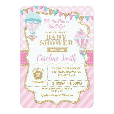 Hot Air Balloon Girl Baby Shower Party Invite