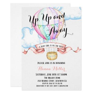 Hot Air Balloon Invitations Baby Girl Shower