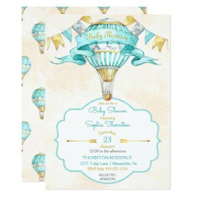 Hot Air Balloon Turquoise Gold Gender Neutral Invitations