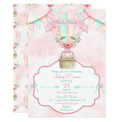Hot Air Balloon Watercolor Pink Mint Peach Invitation