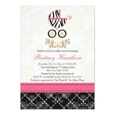 Hot Pink and Black Zebra Carriage Baby Shower Invitation