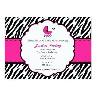 Hot Pink and Zebra Print Baby Shower Invitation