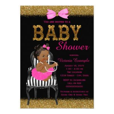 Hot Pink Black and Gold Ethnic Girl Baby Shower Invitation