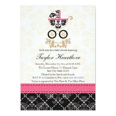 HOT PINK BLACK DAMASK BABY CARRIAGE BABY SHOWER INVITATION