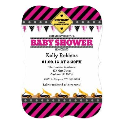 Hot Pink Construction Baby Shower Invitations