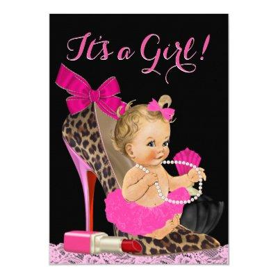 Hot Pink Leopard High Heel Shoe Invitations