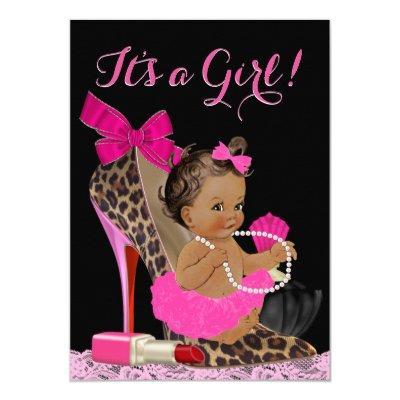 Hot Pink Leopard High Heel Shoe Ethnic Baby Shower Invitations